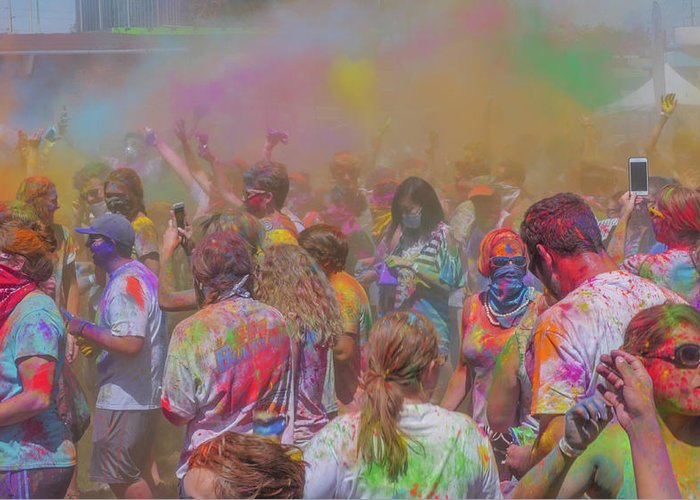 Holi Fest Greeting Card featuring the photograph Rainbow Of Colors by Billy Joe