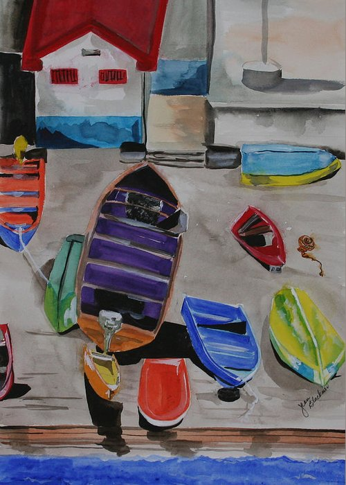 Boats Greeting Card featuring the painting Rainbow On The Dock by Jean Blackmer