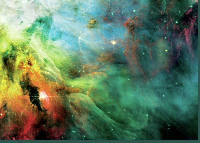 Nebula Greeting Card featuring the photograph Rainbow Orion Nebula by Jennifer Rondinelli Reilly - Fine Art Photography