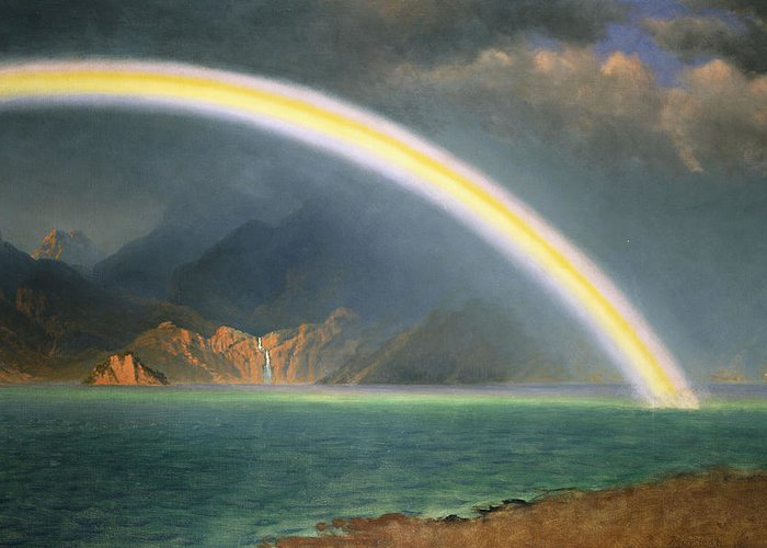 19th Century; Albert Bierstadt; American Artist; American Painting; Bright; Cloudy; Daytime; Dream; Dream Like; Dreaming; Dreamscape; Enchanted; Enchanting; Enchantment; Fairy Tale; Fairyland; Fanciful; Fantasy; Fantasy & Fiction; Fantastical; Hope; Hopeful; Hudson River School; Jenny Lake; Lake; Late 19th Century; Literature; Magical; Meteorology; Natural Space; North America; Oil On Canvas; Oil Painting; Outdoors; Rainbow; Romantic Art; Romantic Era; Romanticism; Sky; Spellbound Greeting Card featuring the painting Rainbow Over Jenny Lake Wyoming by Albert Bierstadt