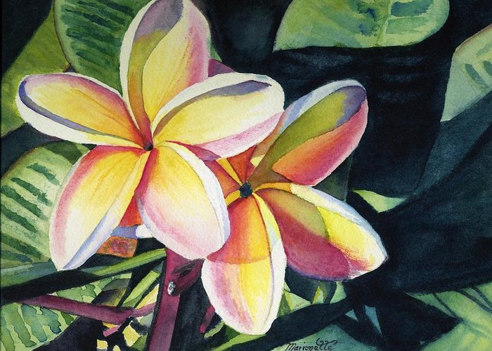 Rainbow Greeting Card featuring the painting Rainbow Plumeria by Marionette Taboniar