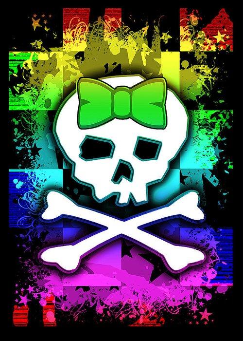 Rainbow Greeting Card featuring the digital art Rainbow Skull by Roseanne Jones
