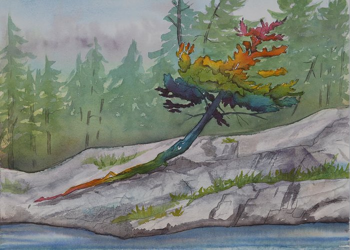 Rainbow Greeting Card featuring the painting Rainbow Tree by Debbie Homewood