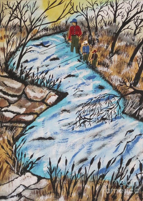 Landscape Greeting Card featuring the painting Rainbow Trout by Jeffrey Koss