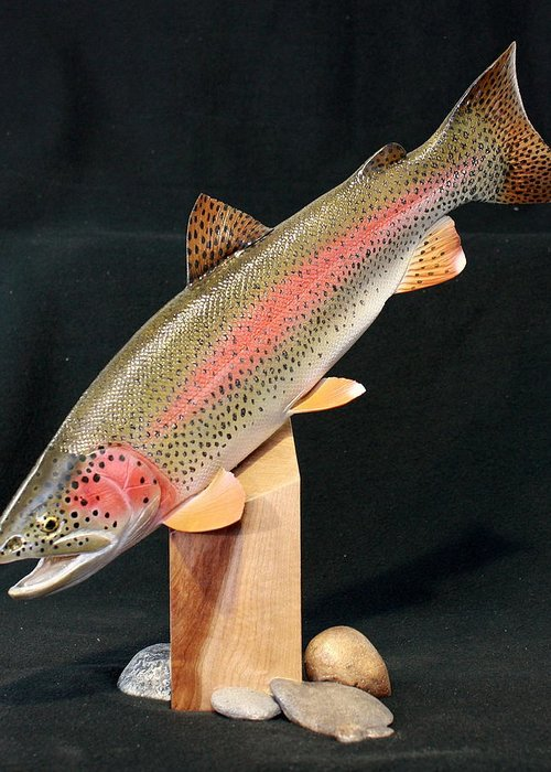 Salmon Greeting Card featuring the sculpture Rainbow Trout On Maple 15 by Eric Knowlton