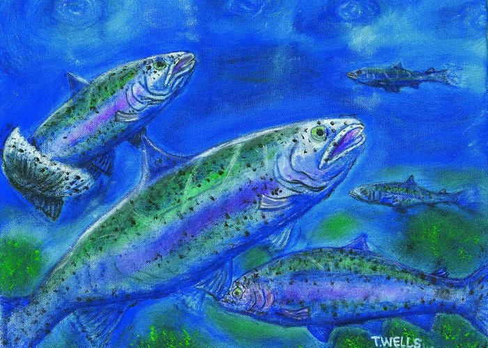 Rainbow Trout Greeting Card featuring the painting Rainbow Trout Swimming by Tanna Lee M Wells
