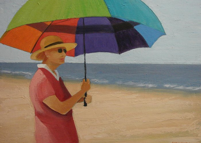 Ocean Greeting Card featuring the painting Rainbow Umbrella by Robert Rohrich