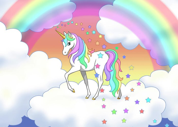 Unicorn Greeting Card featuring the digital art Rainbow Unicorn Clouds and Stars by Crista Forest