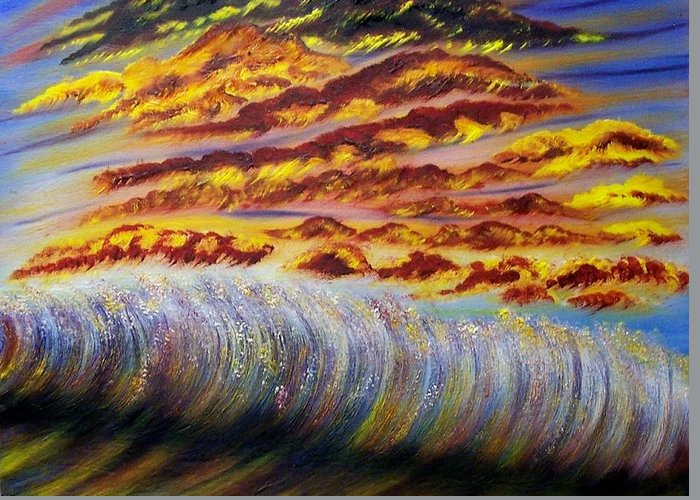 Sky Greeting Card featuring the painting Rainbow Waves by Marie Lamoureaux