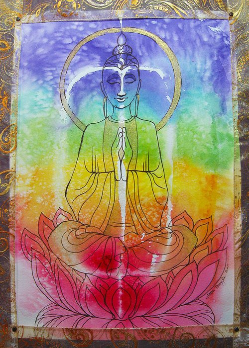 Buddha Greeting Card featuring the mixed media Rainbowbuddha by Joan Doyle