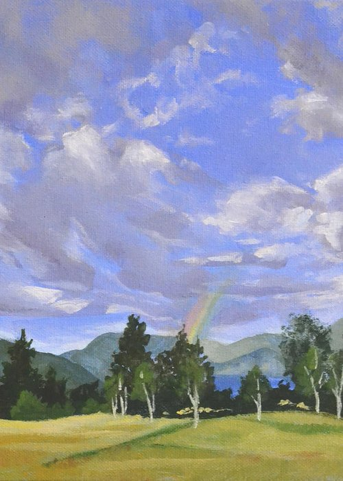 Clouds Greeting Card featuring the painting Rainbow's End by Mary Chant