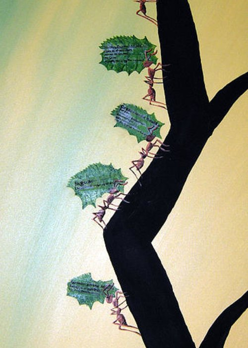 Ant Greeting Card featuring the mixed media Rainforest Information Superhighway by Sharon Supplee