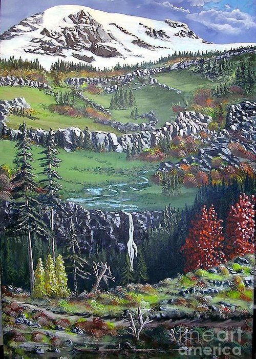 Landscape Greeting Card featuring the painting Rainier In Fall by John Wise