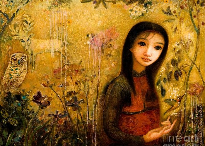 Portrait Greeting Card featuring the painting Raining Garden by Shijun Munns