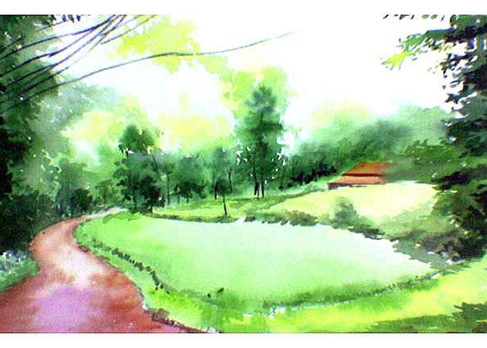 Landscape Greeting Card featuring the painting Rains In West by Anil Nene
