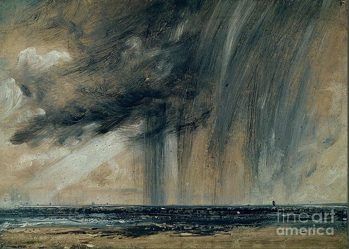 Stormy; Seascape; Rain; Raining; Tempest; Tempestuous; Black Cloud Greeting Card featuring the painting Rainstorm Over The Sea by John Constable