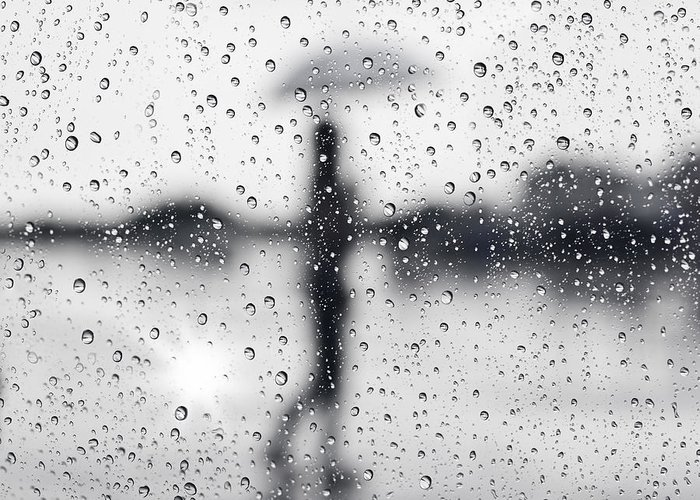 Abstract Greeting Card featuring the photograph Rainy Day by Setsiri Silapasuwanchai