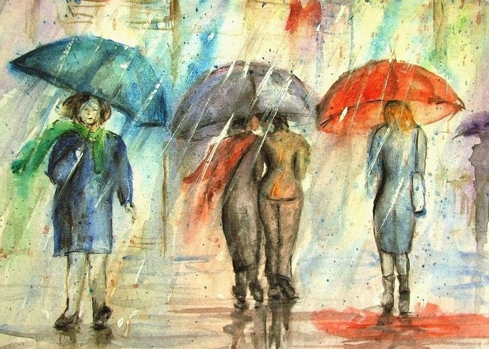 Landscape Greeting Card featuring the painting Rainy day with umbrellas by Natalja Picugina