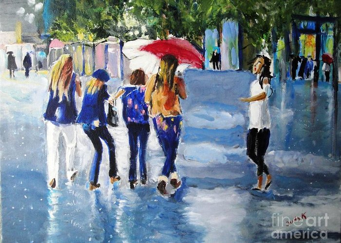 Rain Greeting Card featuring the painting Rainy Days And Mondays by Judy Kay