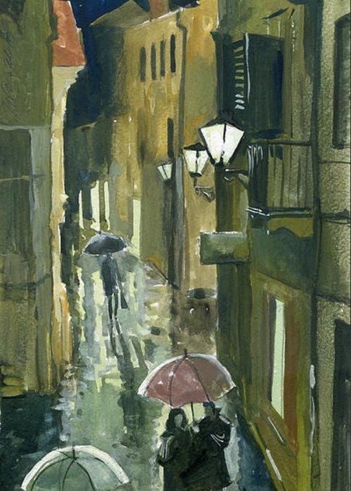 Montenegro Greeting Card featuring the painting Rainy Evening In Kotor by Sakurov Igor
