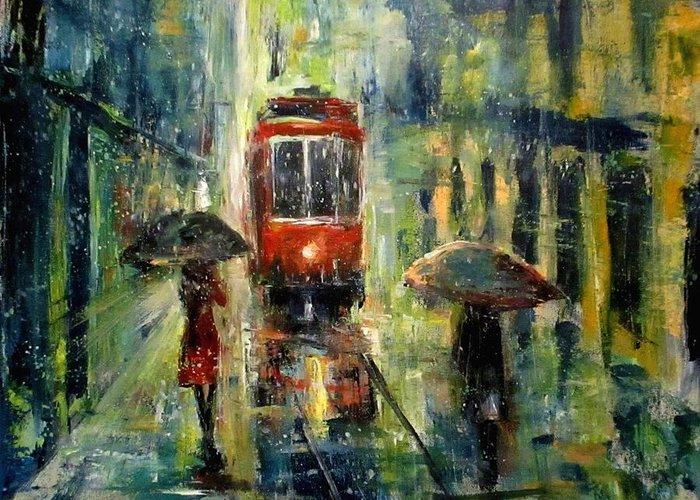 Landscape Greeting Card featuring the painting Rainy Fantasy by Natalja Picugina