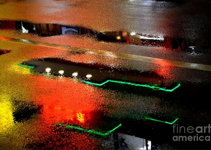 Neon Greeting Card featuring the photograph Rainy Night In Chinatown by Dean Harte