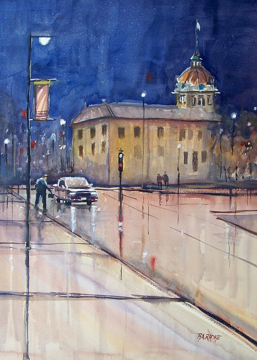 Watercolor Greeting Card featuring the painting Rainy Night In Green Bay by Ryan Radke