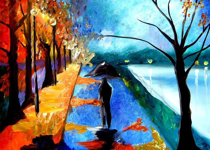 Pop Art Greeting Card featuring the painting Rainy Night by Tom Fedro - Fidostudio