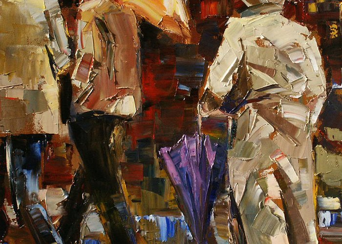 Umbrellas Greeting Card featuring the painting Rainy Season by Debra Hurd