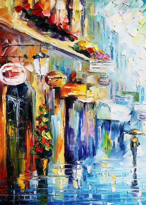 Afremov Greeting Card featuring the painting Rainy Stroll by Leonid Afremov