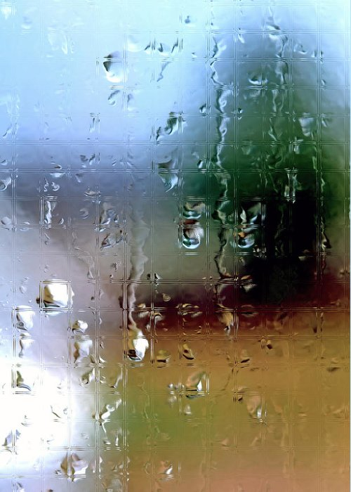 Rain Greeting Card featuring the photograph Rainy Window Abstract by Steve Ohlsen