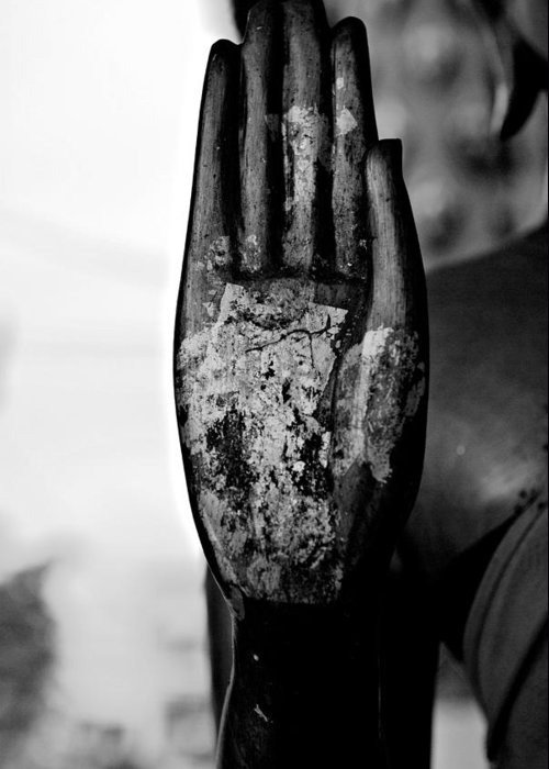 Buddha Greeting Card featuring the photograph Raised Buddha Hand - Black And White by Dean Harte