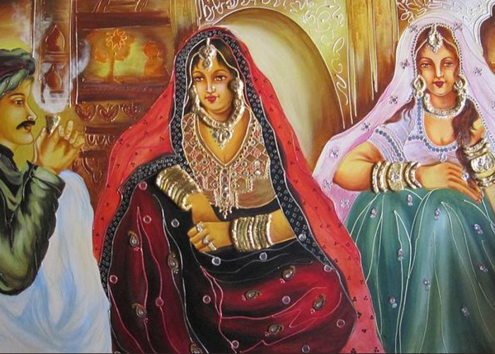 Ladies Greeting Card featuring the painting Rajasthani People by Xafira Mendonsa