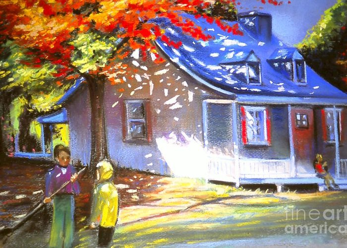 Art Pastel Greeting Card featuring the pastel Raking Leaves At Autumn Sunday by Louise Lavallee