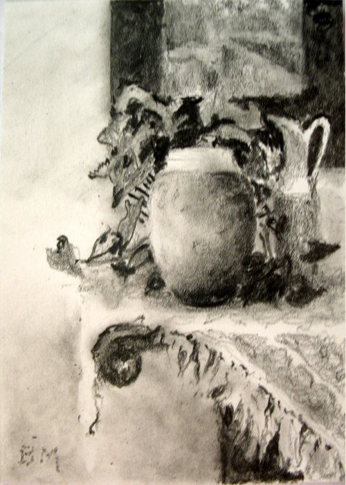Aceo Greeting Card featuring the drawing Raku by Bill Meeker