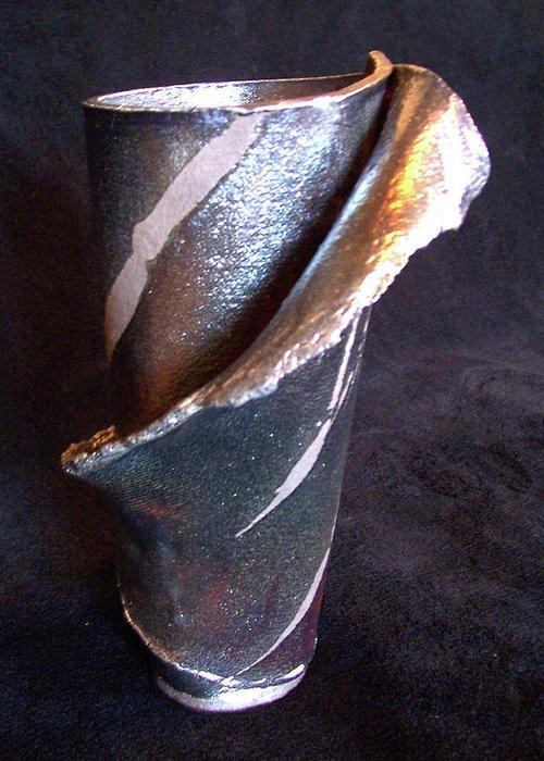 Raku Greeting Card featuring the ceramic art Raku Slab Wrapped Vase by Carolyn Coffey Wallace