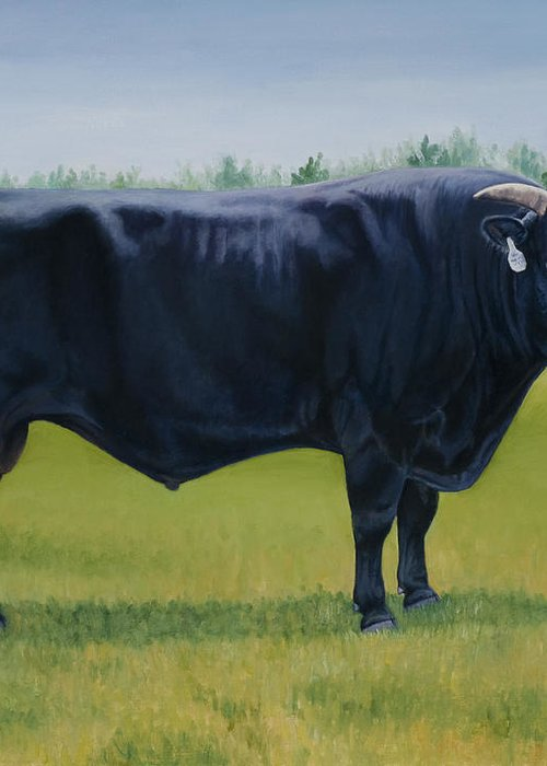Bull Greeting Card featuring the painting Ralphs Bull by Stacey Neumiller