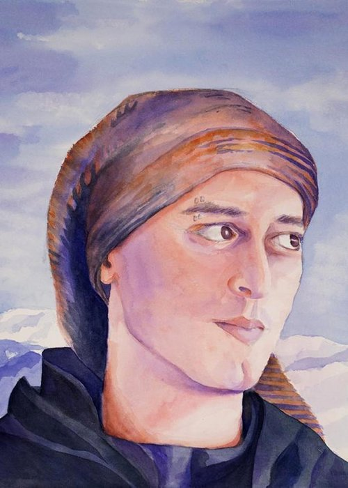Man In Ski Cap Greeting Card featuring the painting Ram by Judy Swerlick