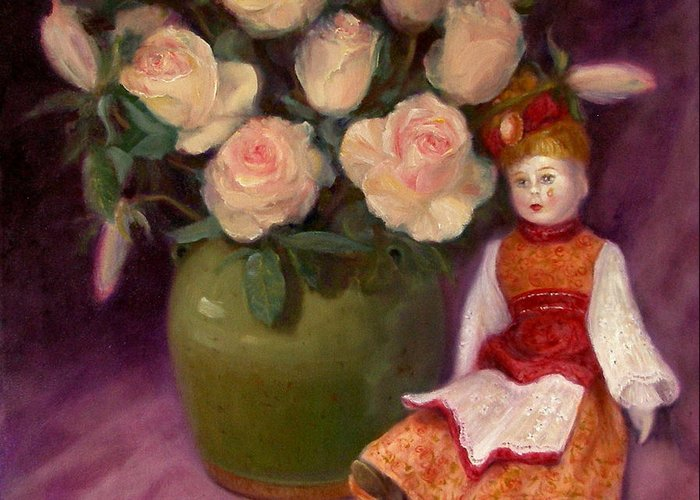 Realism Greeting Card featuring the painting Ramblin Rose by Donelli DiMaria