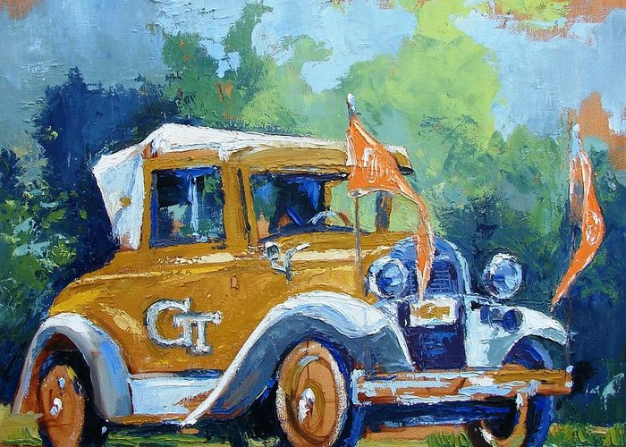 Car Mascot Paintings Greeting Cards
