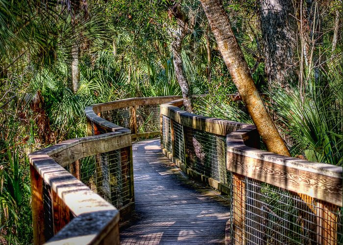 Hdr Greeting Card featuring the photograph Rambling Bridge by E R Smith
