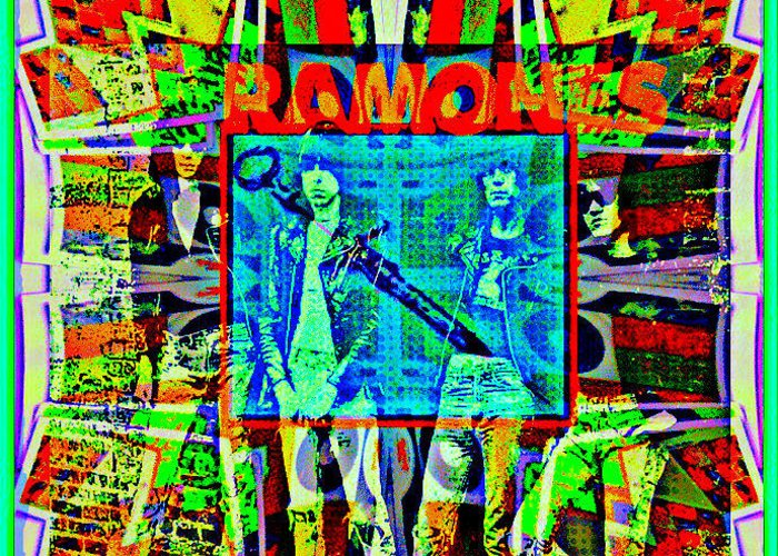 Ramones Greeting Card featuring the digital art Ramones by Tony Adamo
