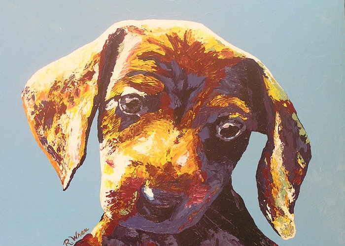 Dog Greeting Card featuring the painting Random Dog Number 1 by Ricklene Wren