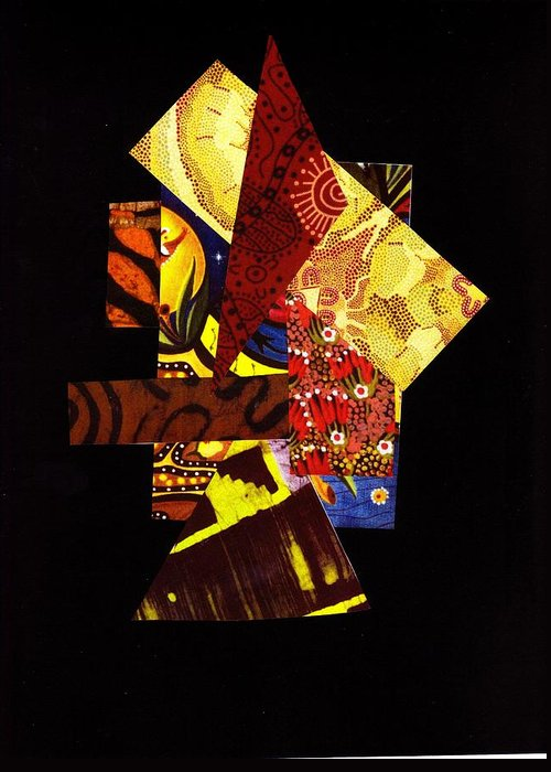 Abstract Greeting Card featuring the mixed media Randomized Quilt Concepts by Bee Jay