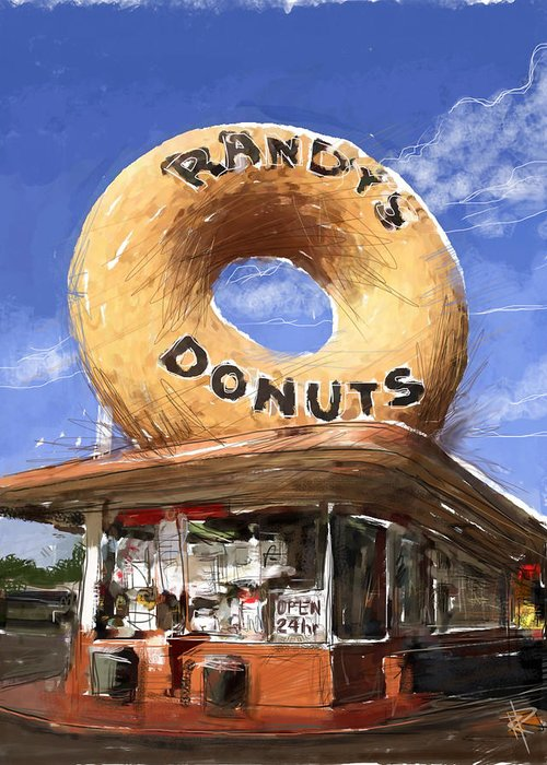 Randy's Donuts Greeting Card featuring the mixed media Randy's Donuts by Russell Pierce