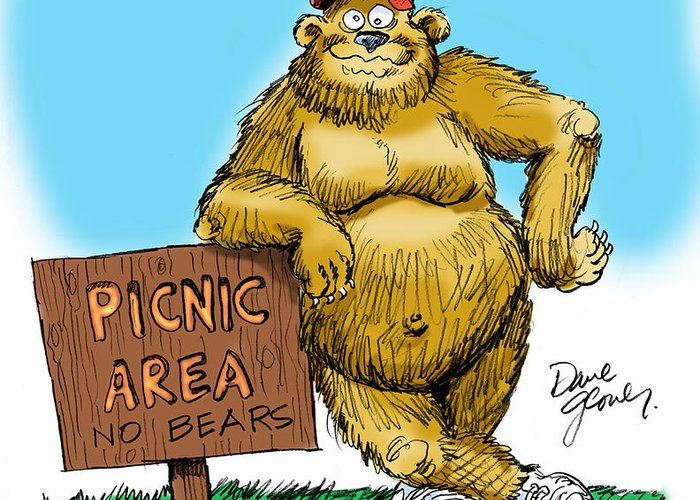 Ranger Bear Greeting Card featuring the drawing Ranger Bear by David Lloyd Glover