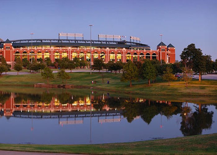 Texas Rangers Ballpark In Arlington Greeting Card featuring the photograph Rangers Ballpark In Arlington At Dusk by Jon Holiday
