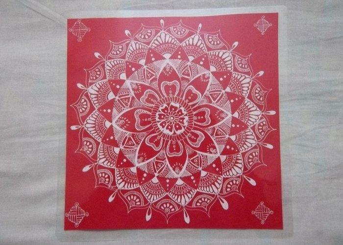 Rangoli Greeting Card featuring the drawing Rangoli Mandala by Aishwarya Suraj