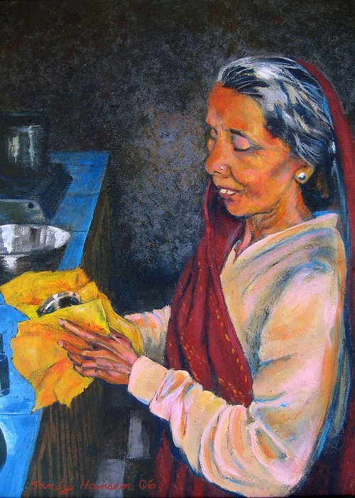 India Greeting Card featuring the painting Rani The Cook by Art Nomad Sandra Hansen