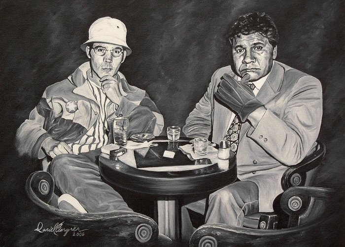 Hst Greeting Card featuring the painting Raoul And Dr. Gonzo In Las Vegas by Daniel Bergren